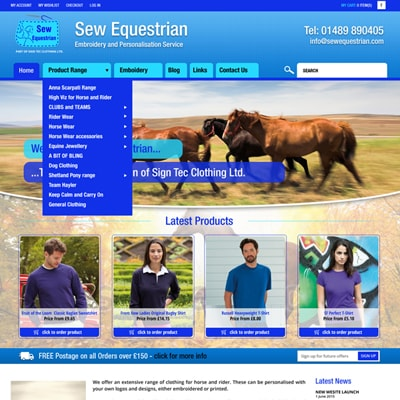 Web design portfolio horse accessories