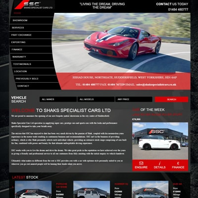 Web design portfolio car specialist